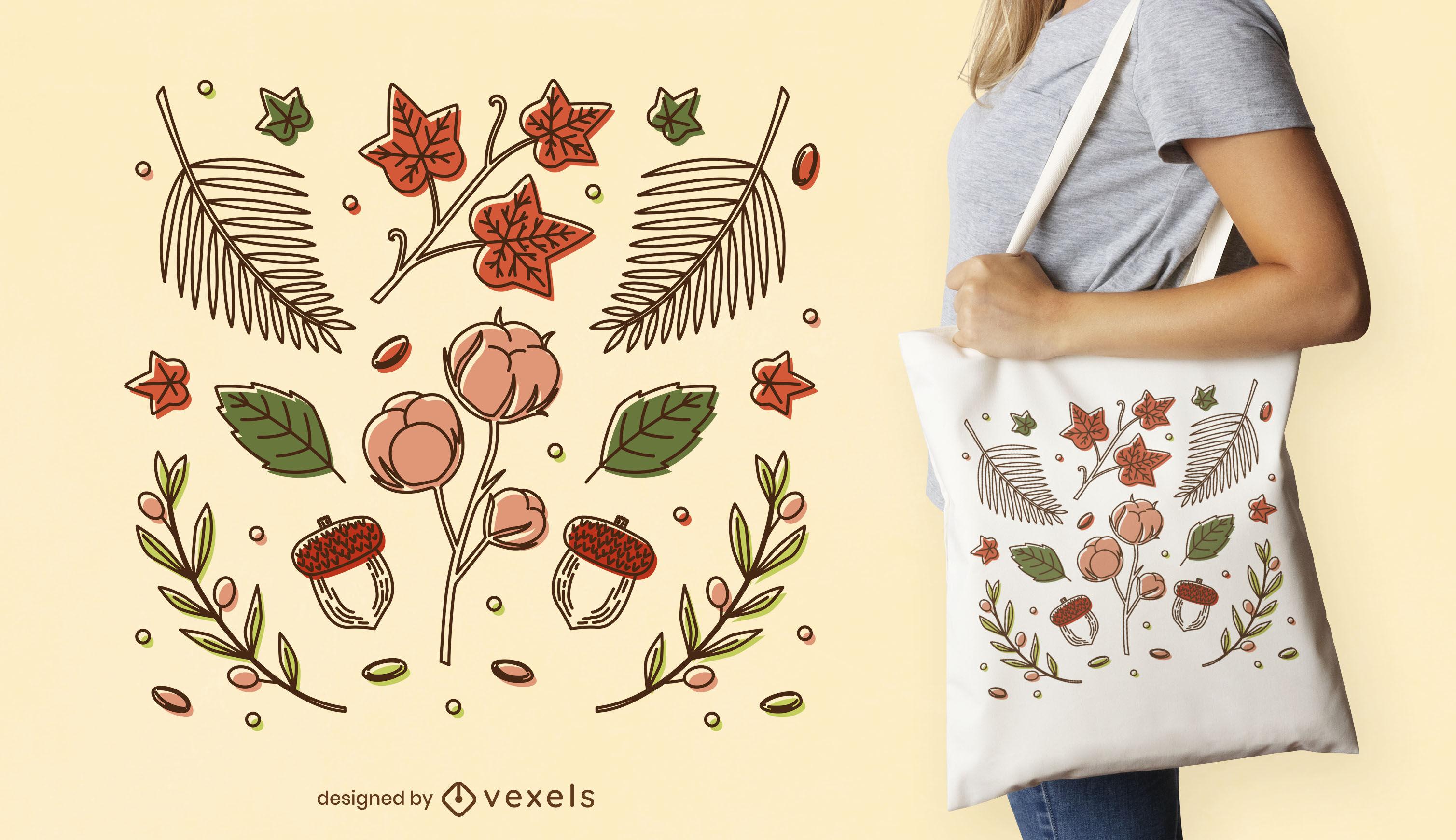 Autumn season leaves tote bag design