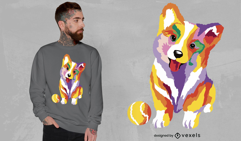 Dise?o lindo de la camiseta del perro del corgi del beb?