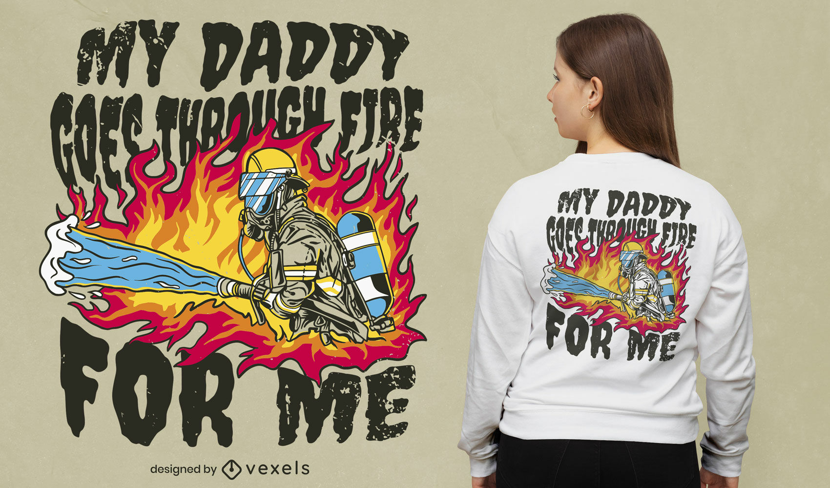Diseño de camiseta de papá bombero fresco
