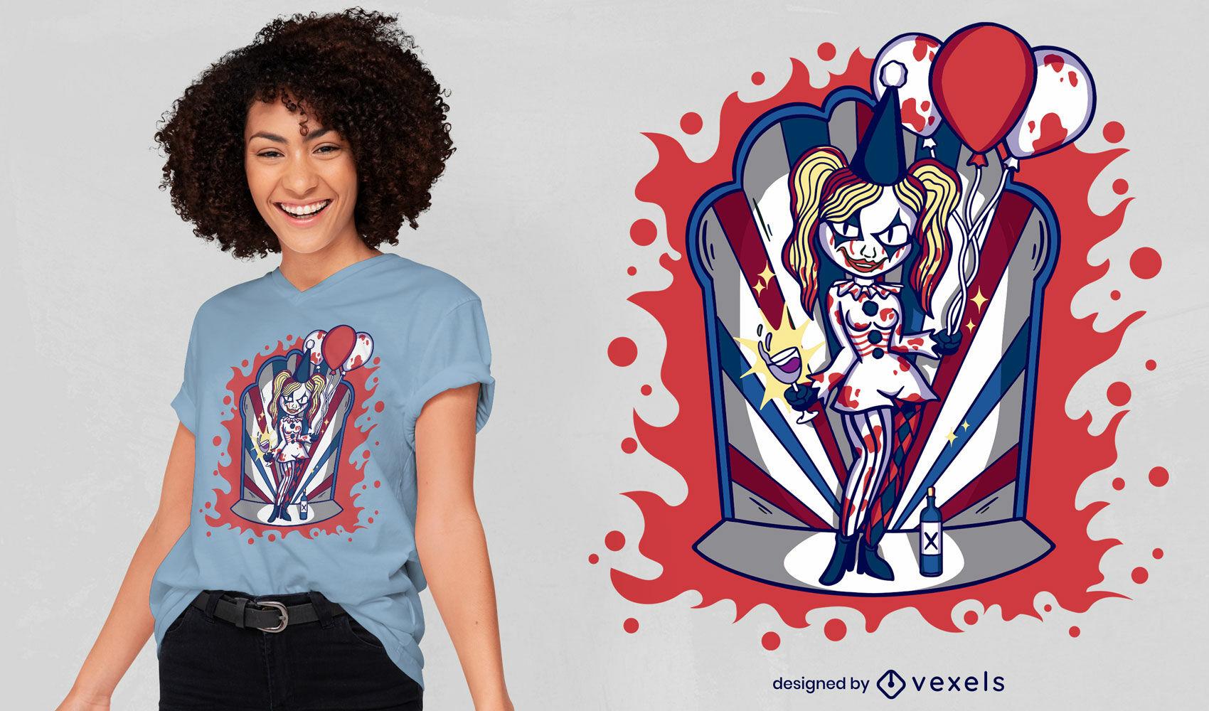 Halloween Mädchen Clown T-Shirt Design