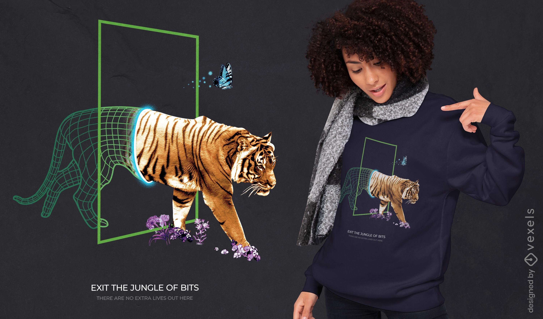 Dise?o de camiseta psd cyber tiger wireframe