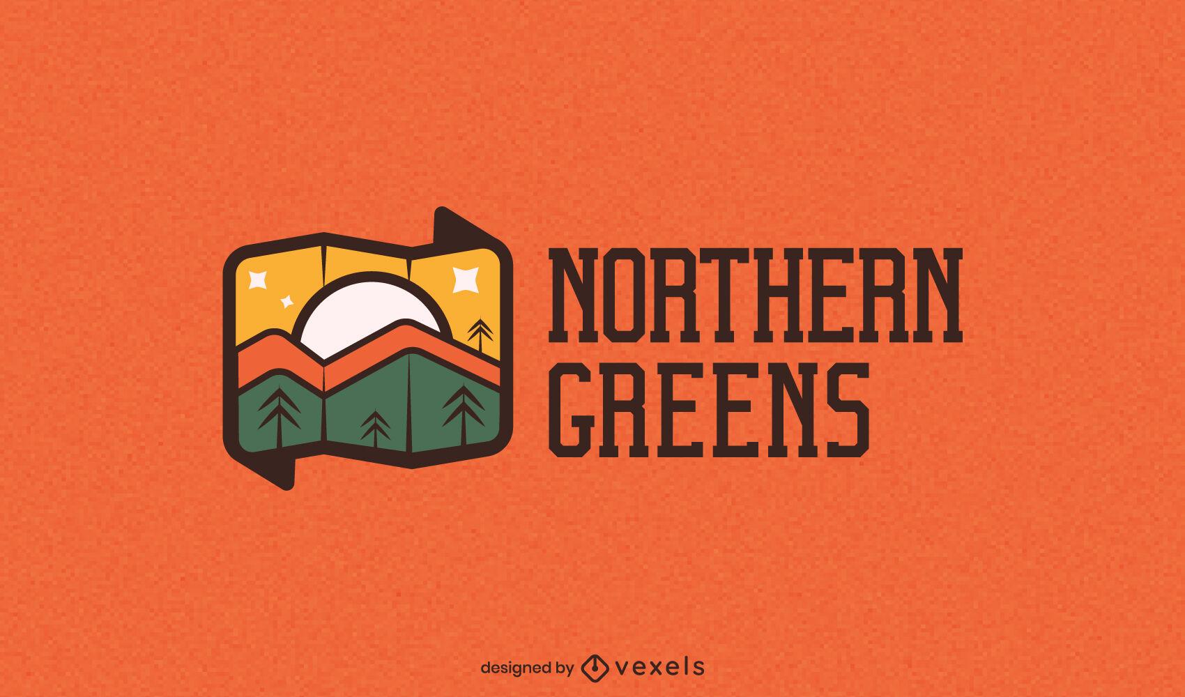 Mountain landscape picture logo template