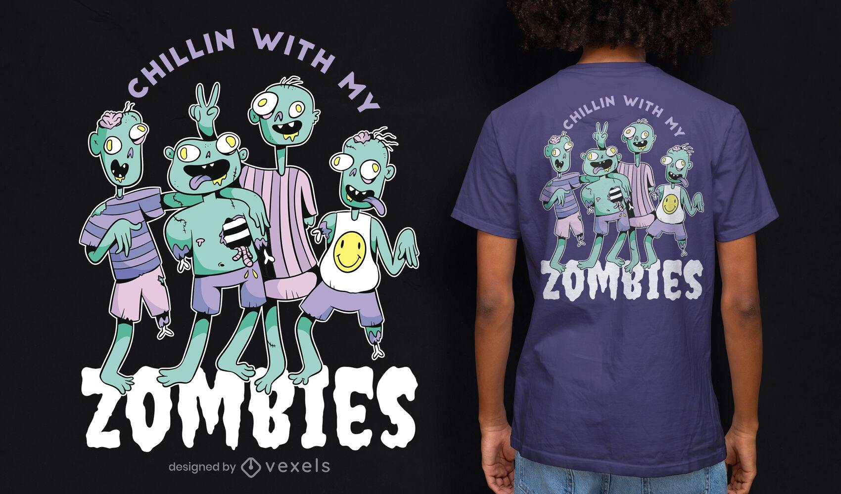 Design de camisetas engraçadas e arrepiantes de zumbis