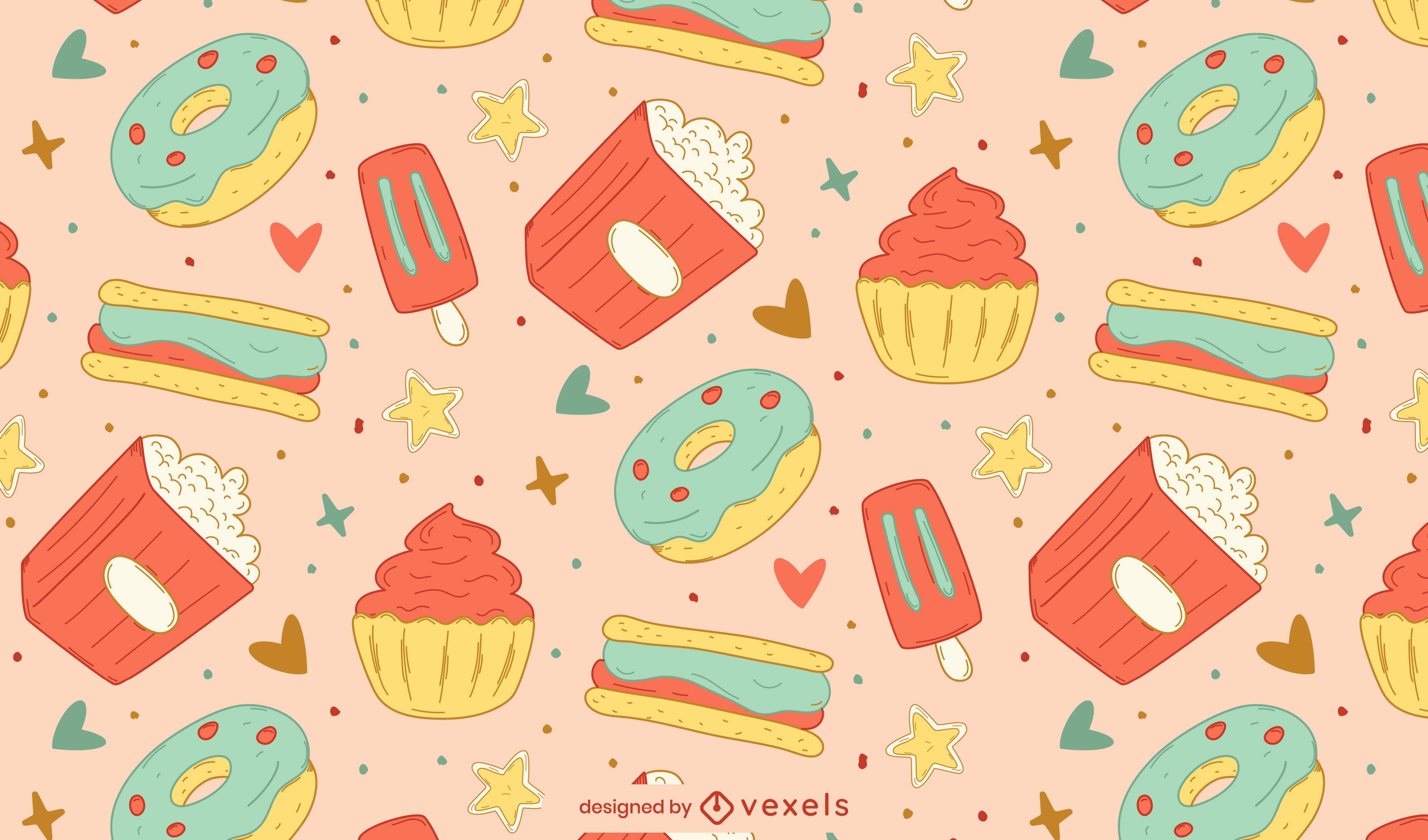 Diseño de patrón de alimentos dulces y bocadillos.
