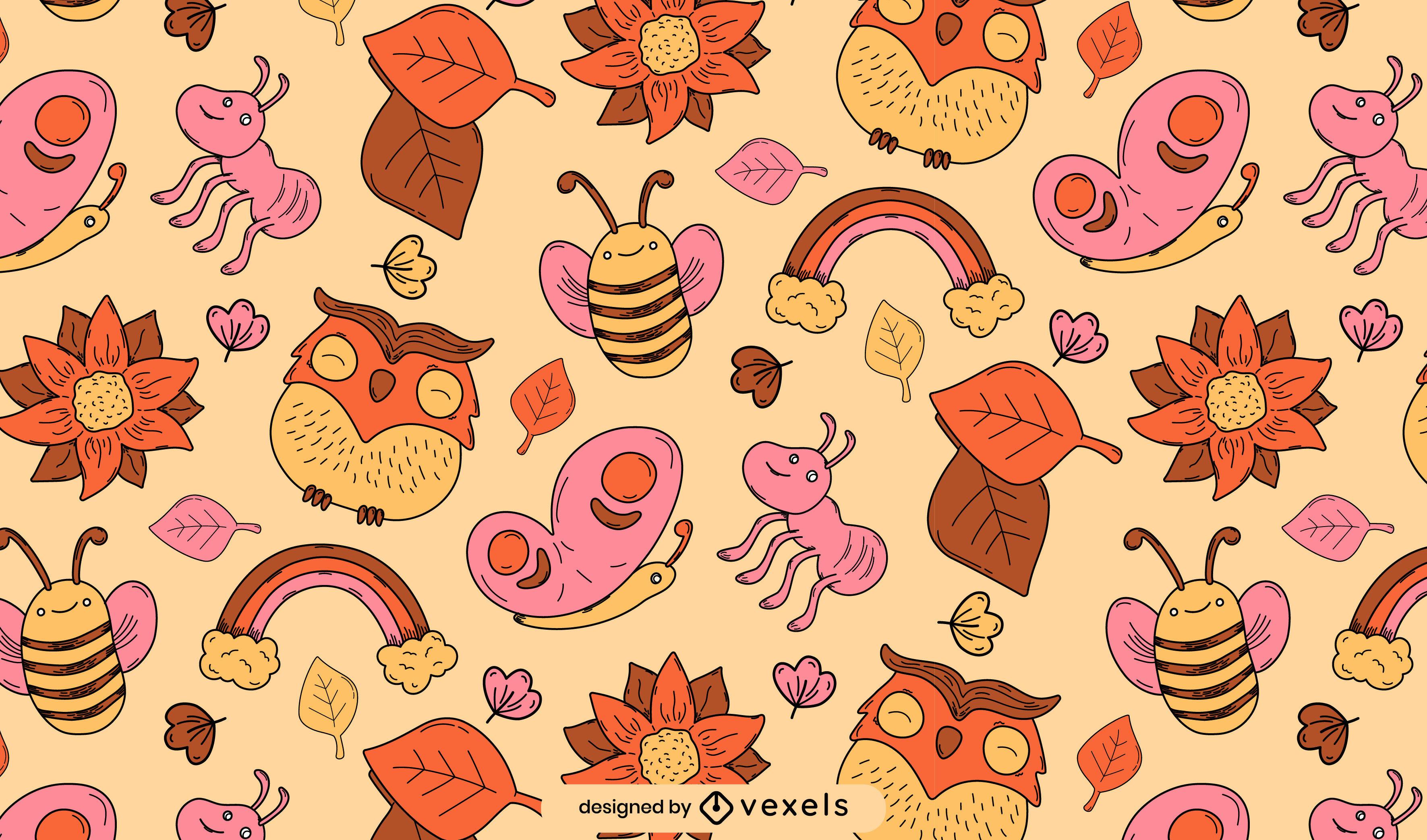 Projeto de padrão de insetos fofos e elementos da natureza