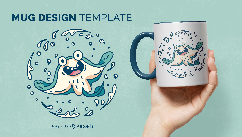 Stingray sea animal cartoon mug design