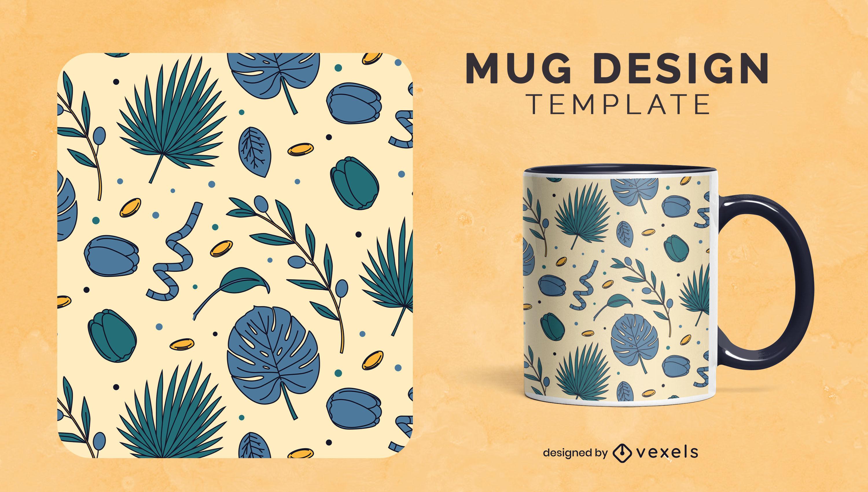 Diseño de taza de naturaleza de flores y hojas azules