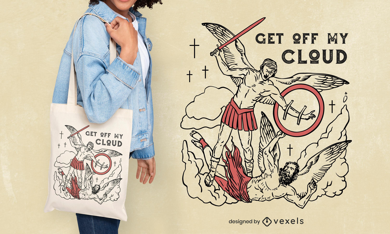 Angel warrior fight tote bag design