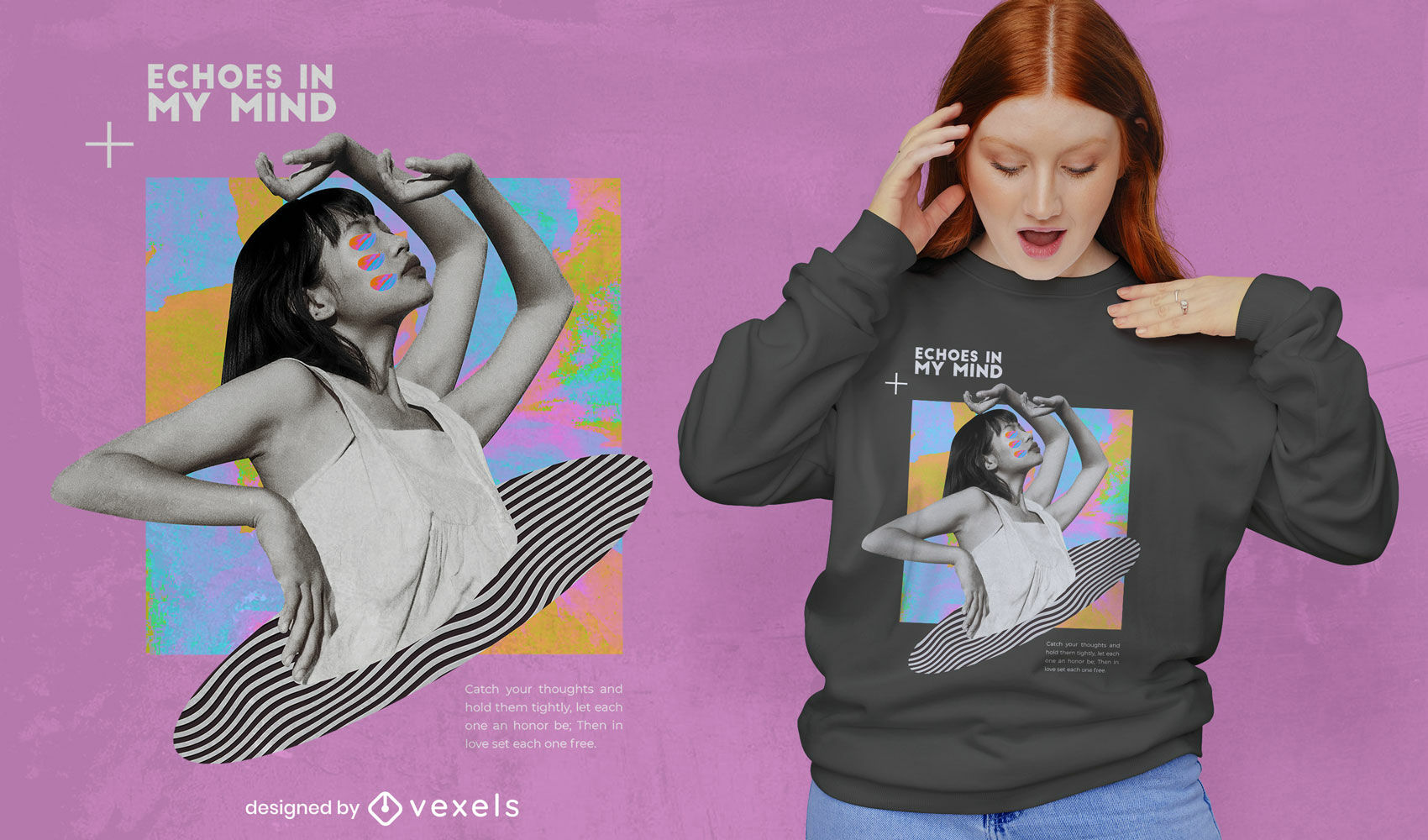 Psychedelic shapes collage girl psd t-shirt design