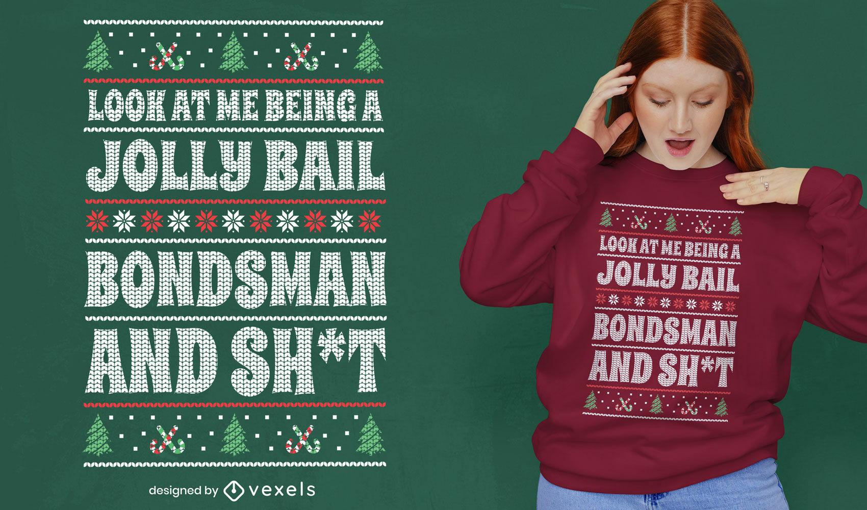 Divertido diseño de camiseta de suéter feo navideño.