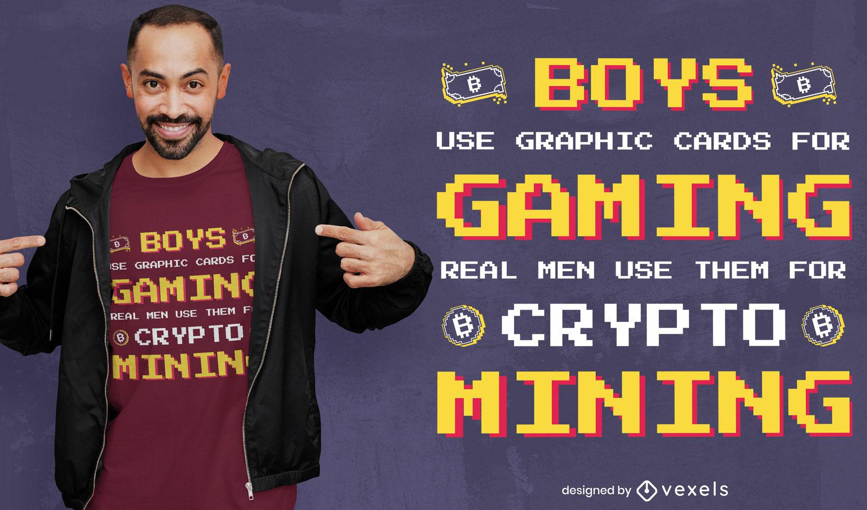 Diseño de camiseta de cripto minería de juegos.