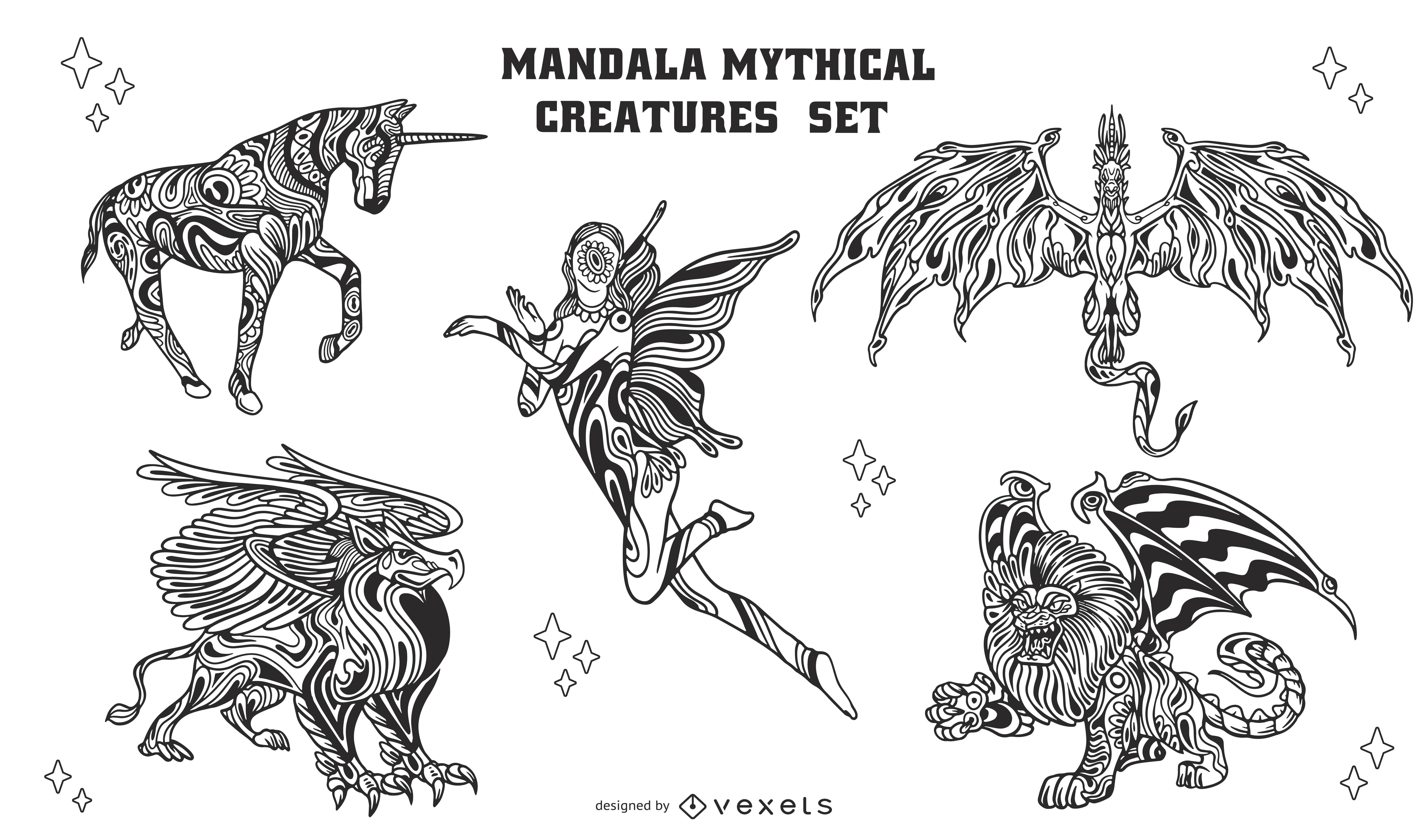 Conjunto de criaturas m?ticas de mandala fresco