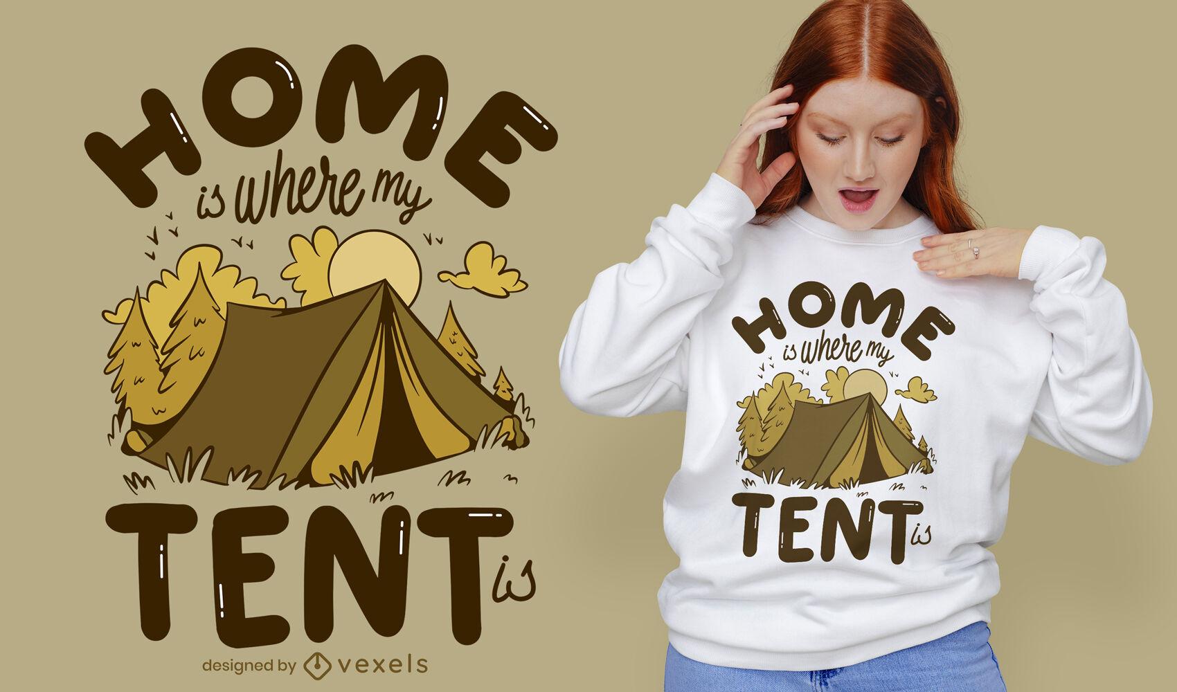 Dise?o de camiseta de camping de cita en casa.