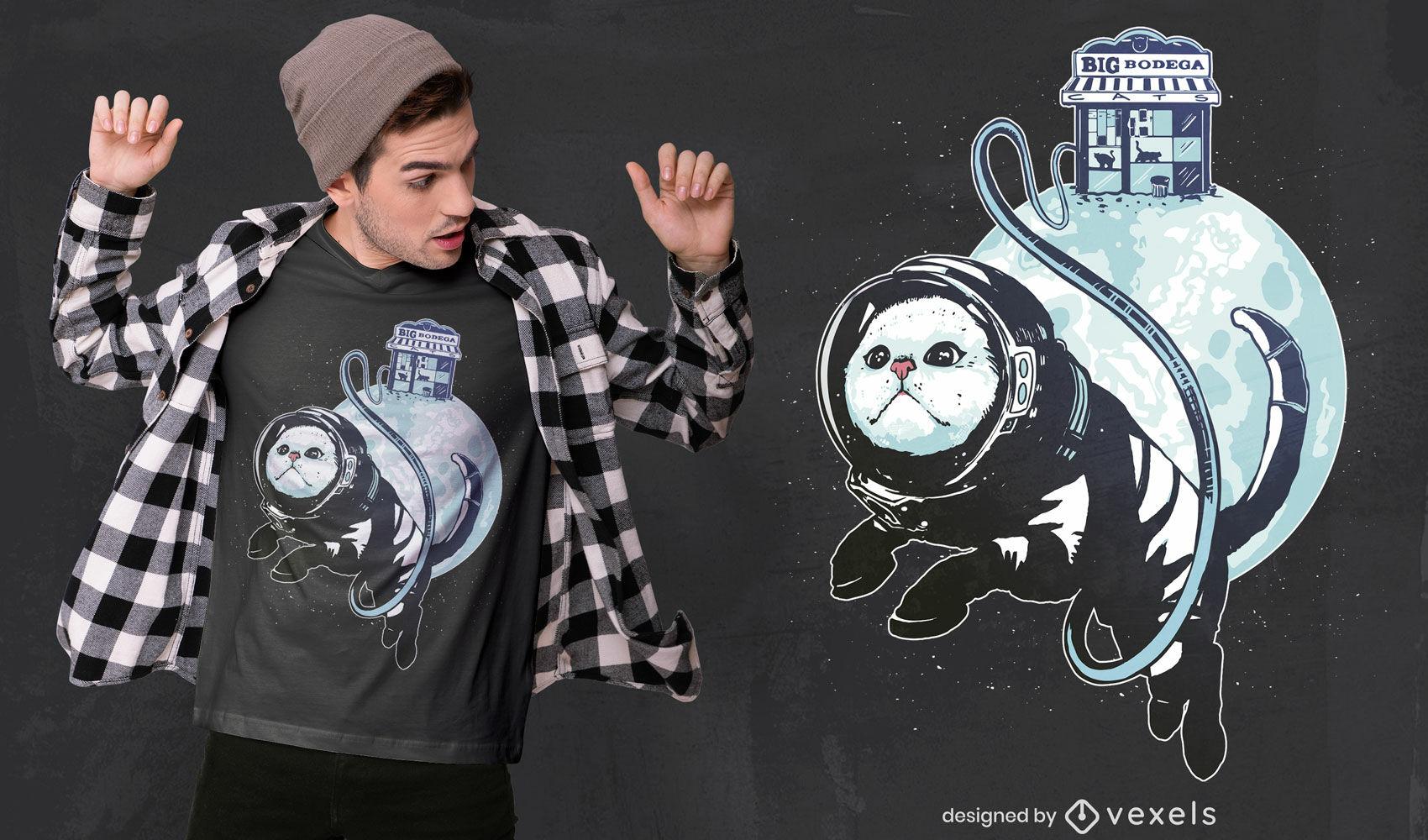 Genial dise?o de camiseta de gato astronauta