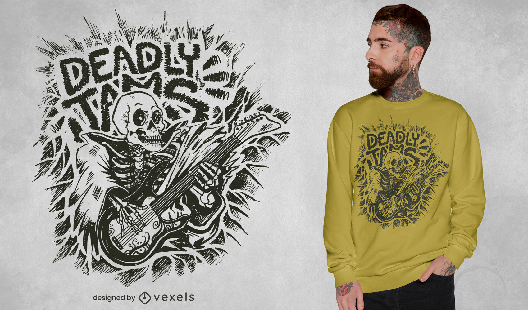 Esqueleto com design de camiseta de guitarra elétrica