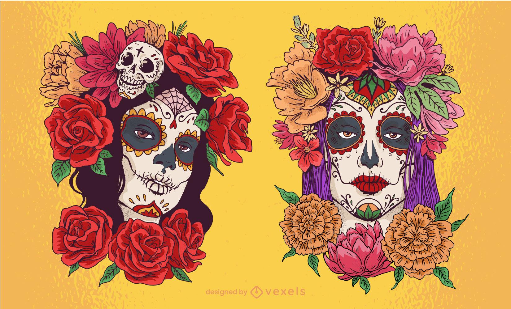Ilustración floral del día de la mujer muerta.