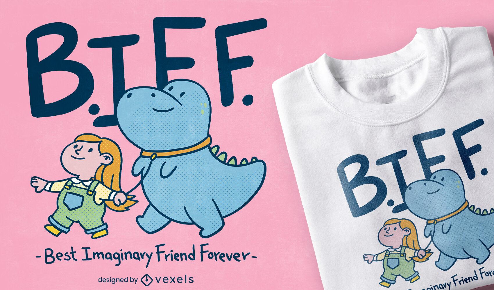 Diseño de camiseta de dinosaurios y amigos infantiles.