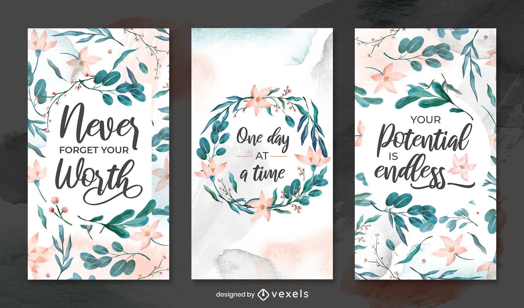 Watercolor floral and leaves instagram story template