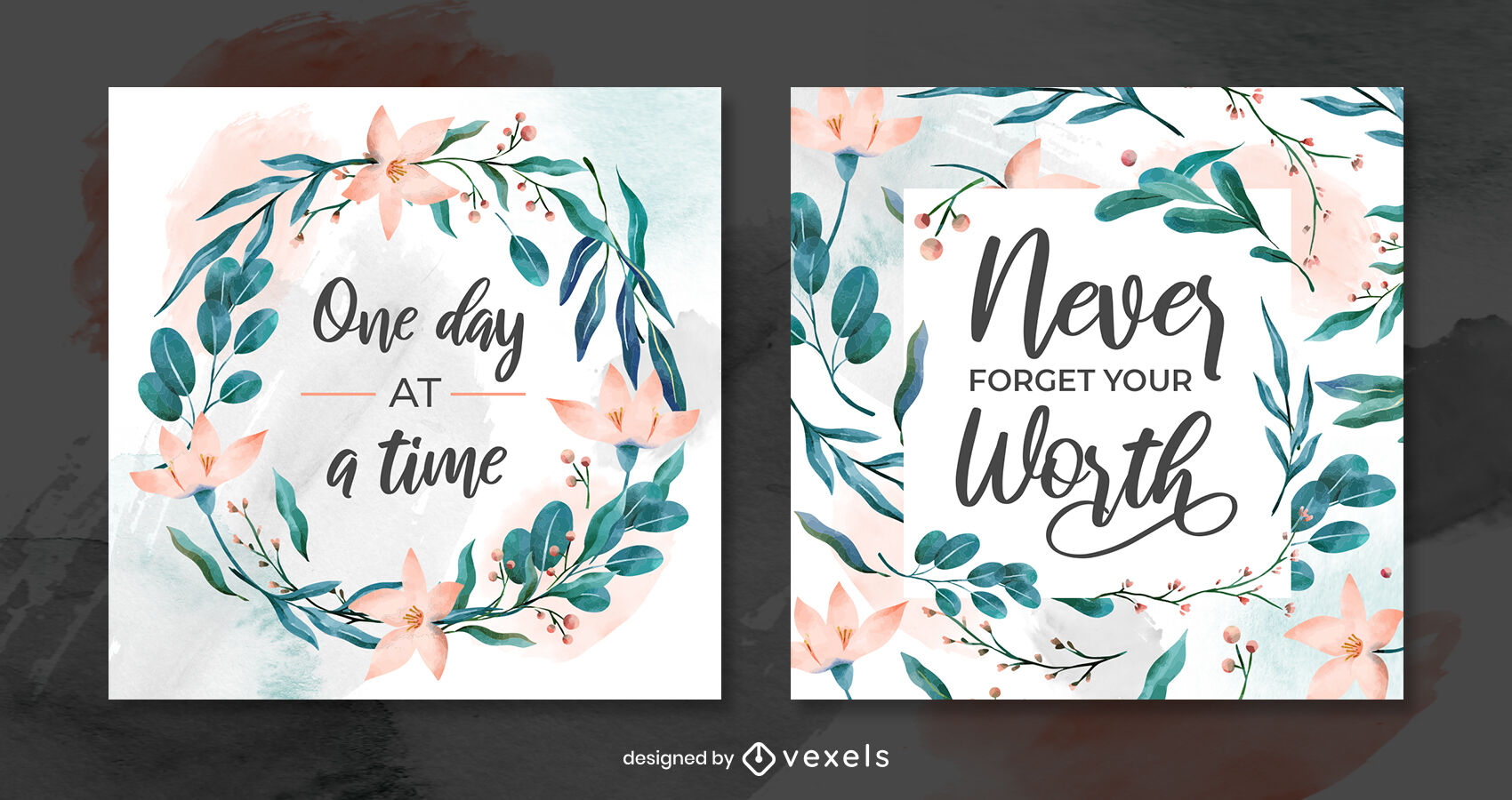 Watercolor leaves and flowers instagram post template