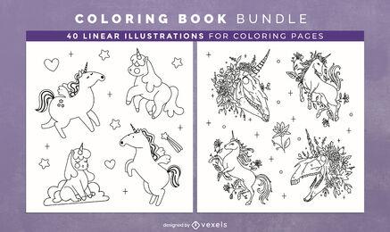 Lindo unicornio para colorear páginas de diseño de libro