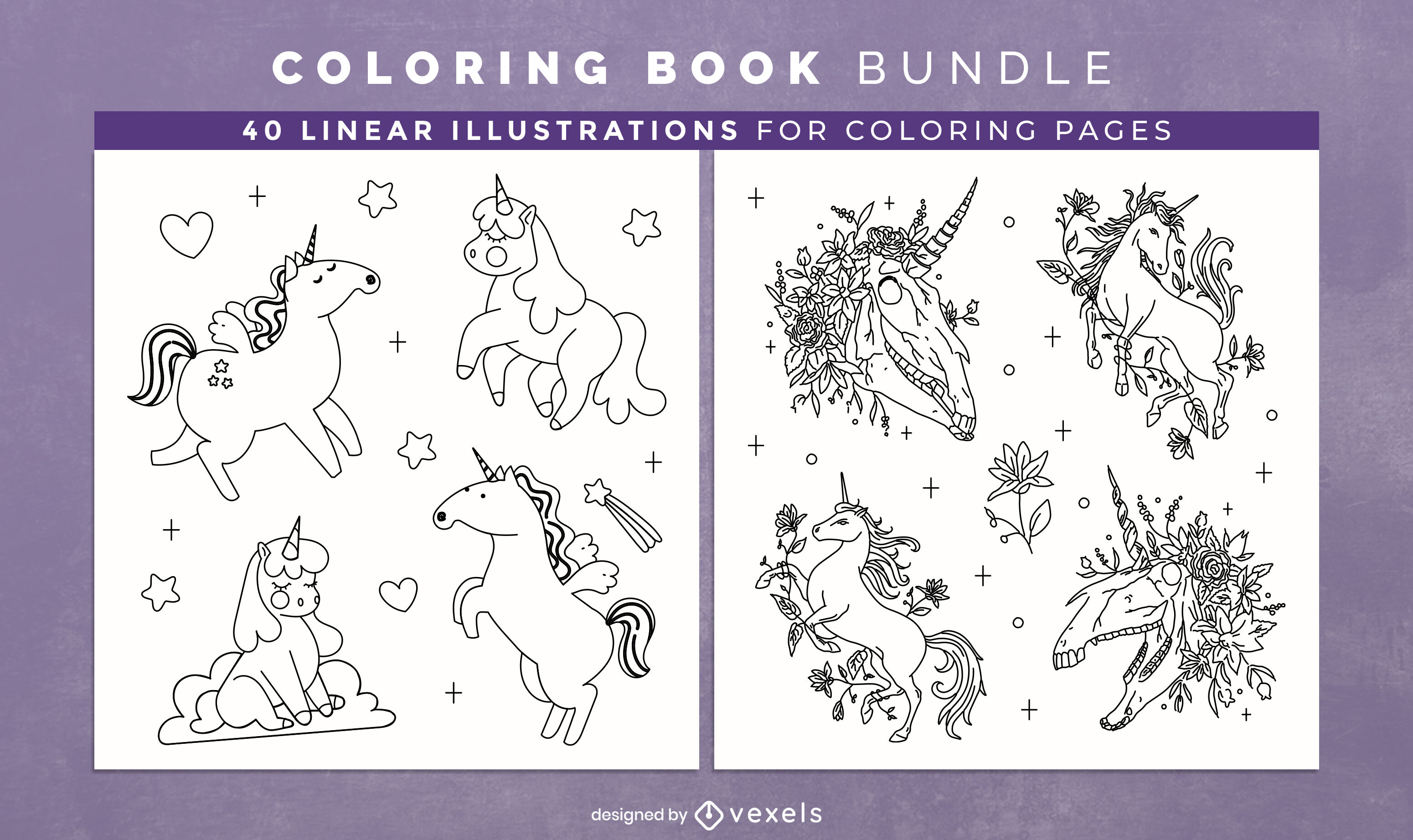 Cute unicorn coloring book design pages