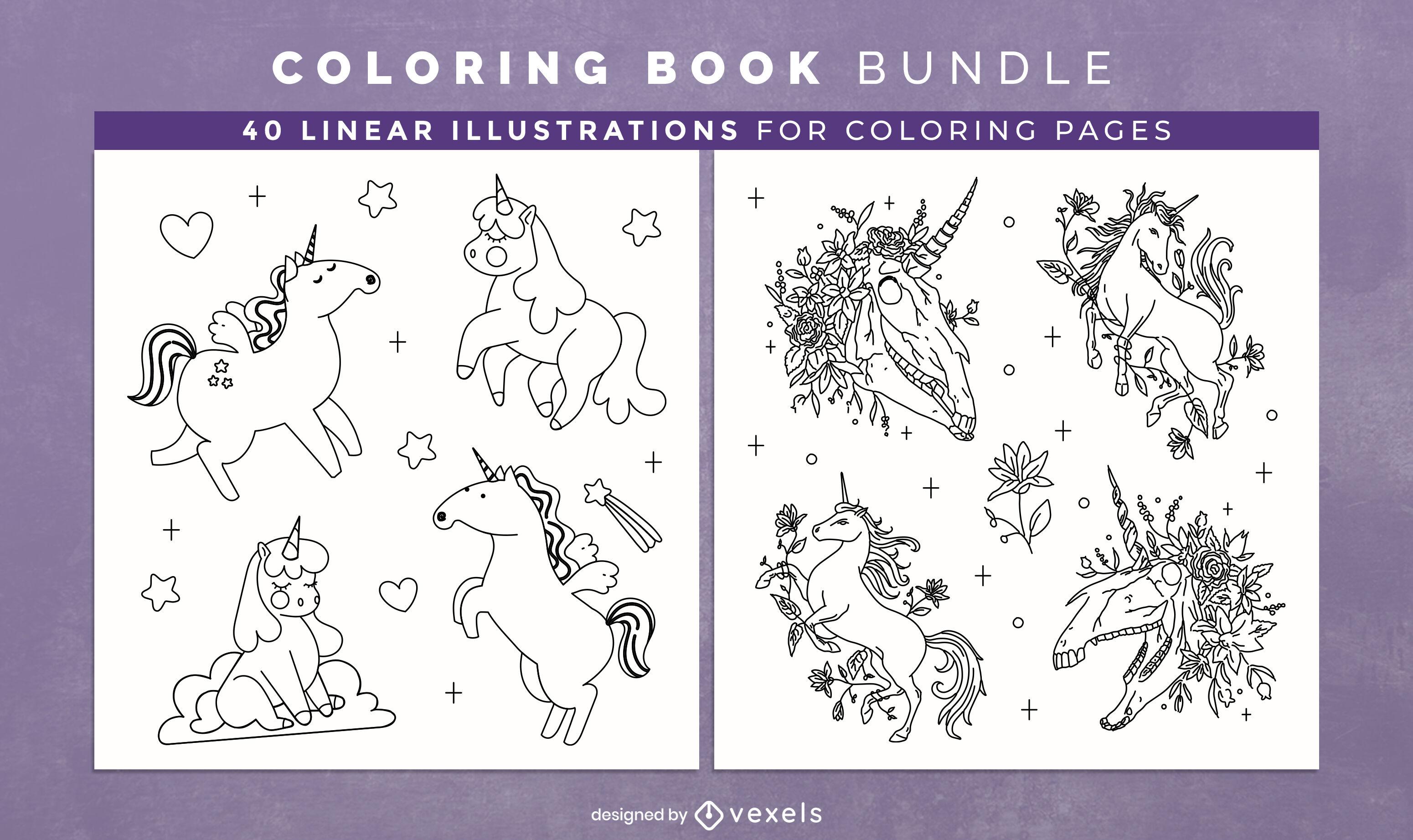 Páginas de design de livro para colorir de unicórnio fofo