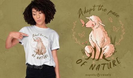 Lindo diseño de camiseta de animales de granja de ovejas.