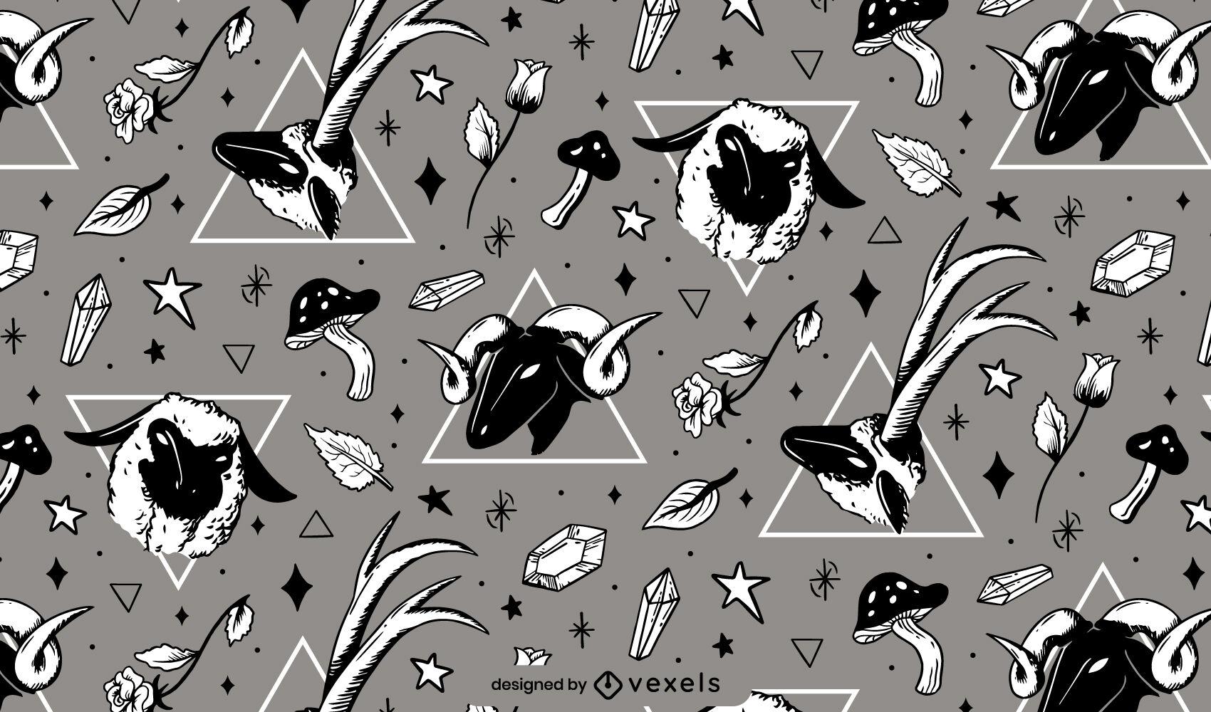 Sheep animal magical pattern design