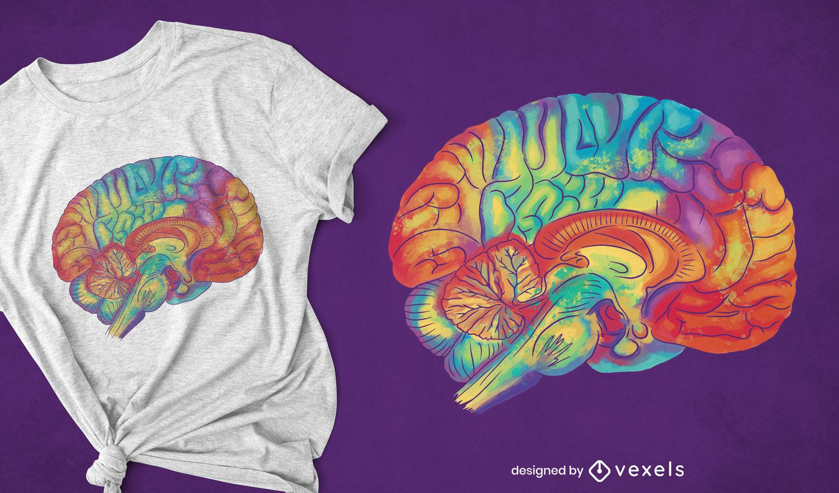 Diseño de camiseta de cerebro de acuarela genial