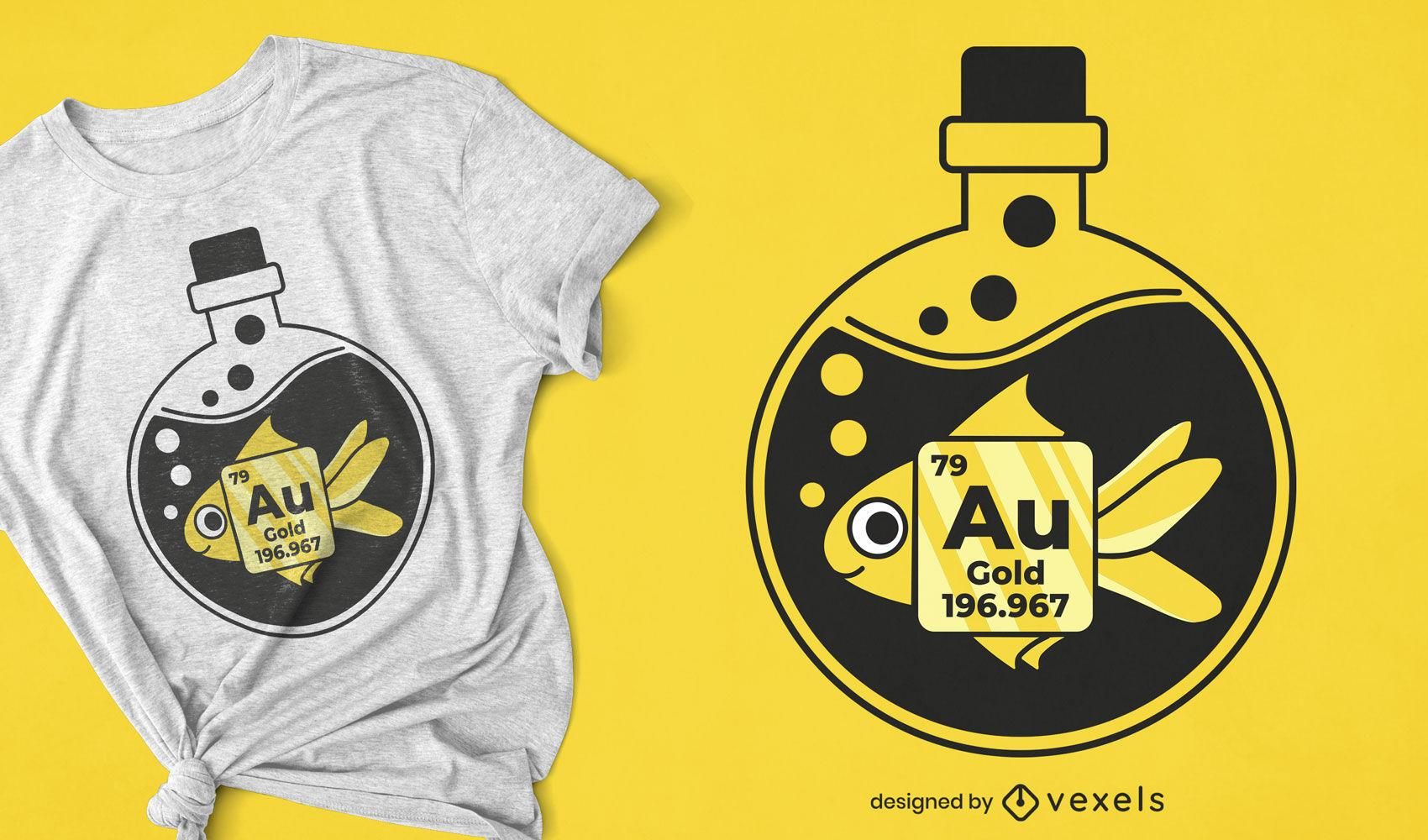 Diseño de camiseta de pez dorado químico.