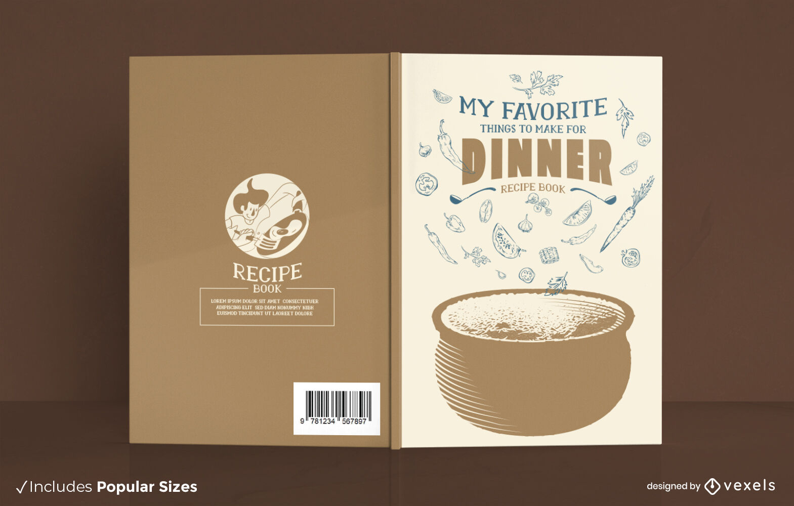 Dinner food recipe book cover design