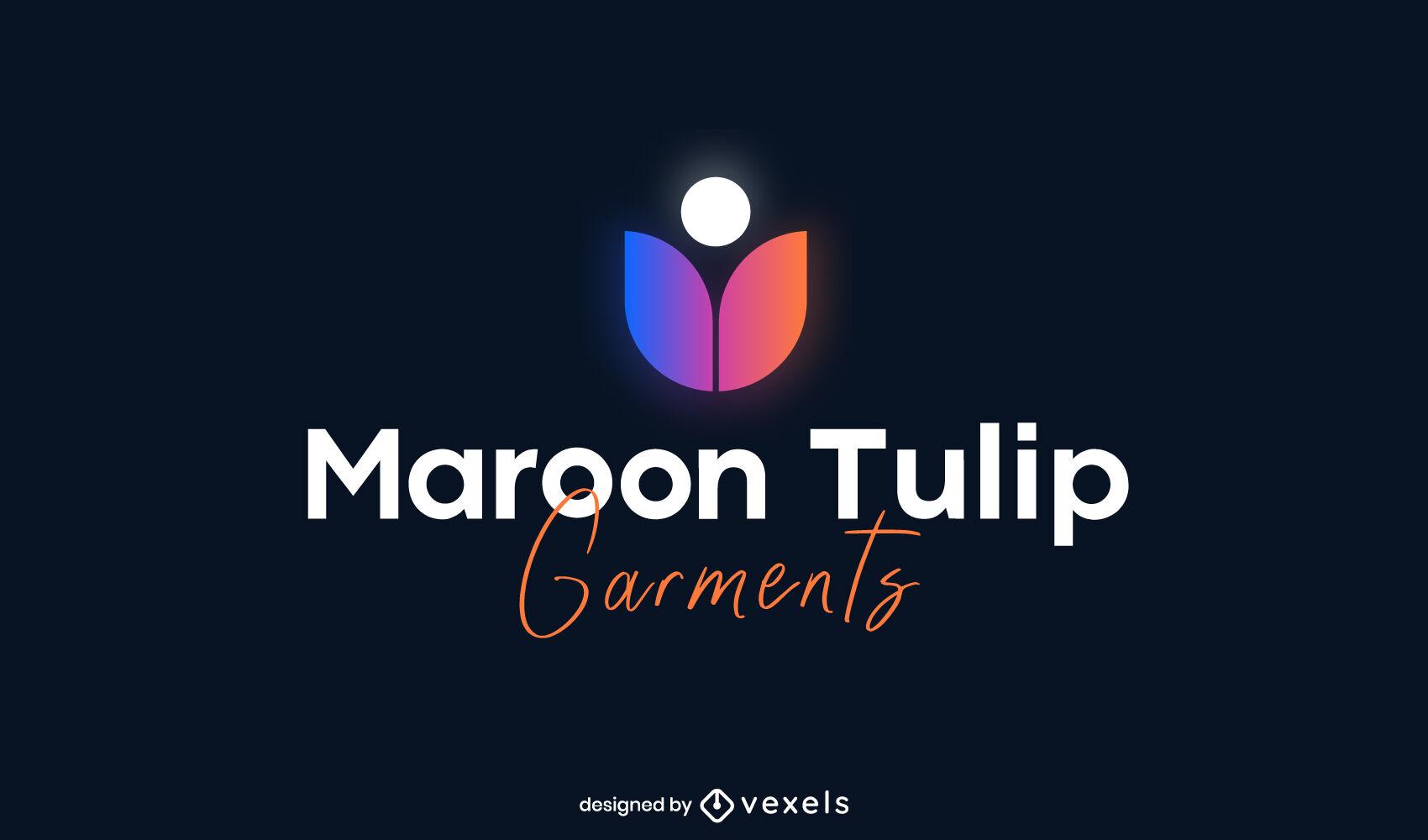 Plantilla de logotipo degradado de naturaleza de flor de tulipán