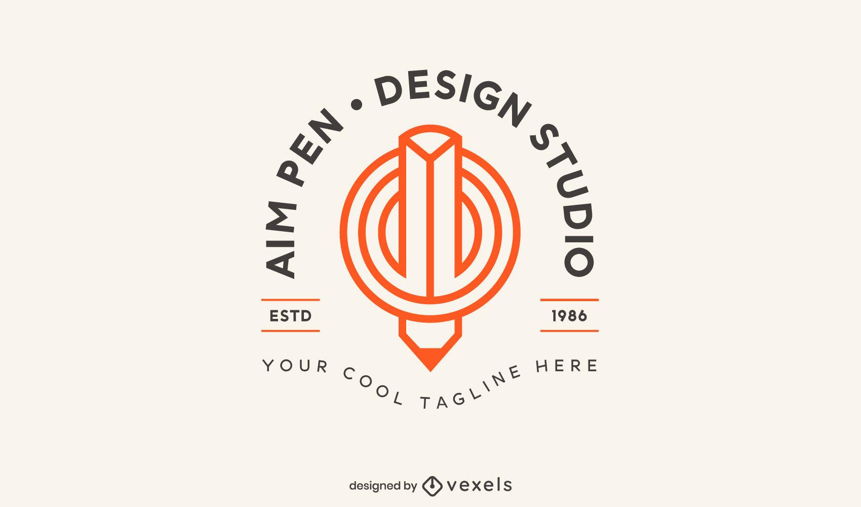 Plantilla de logotipo de lápiz de estudio de diseño
