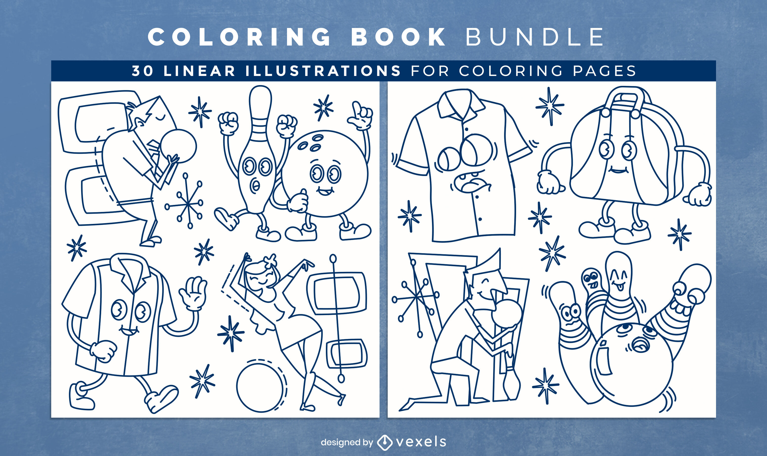 Bowling sport coloring book design pages