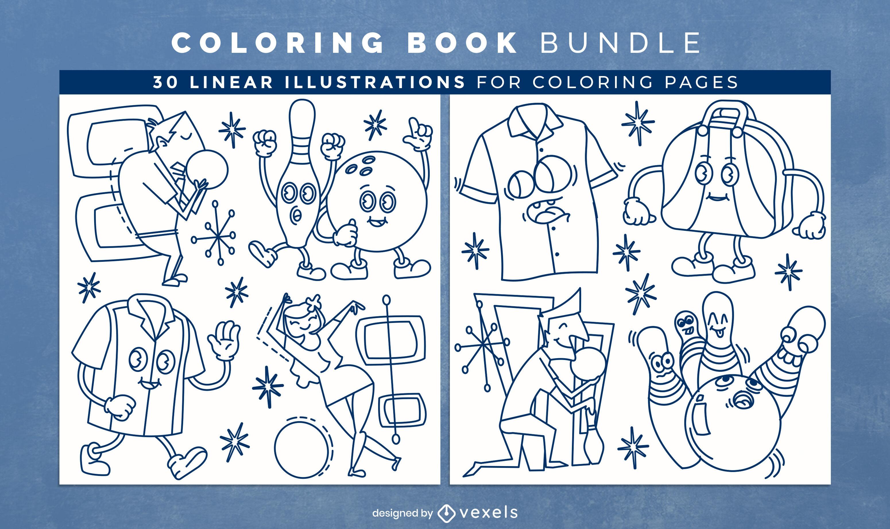 Bowling sport páginas de diseño de libro para colorear