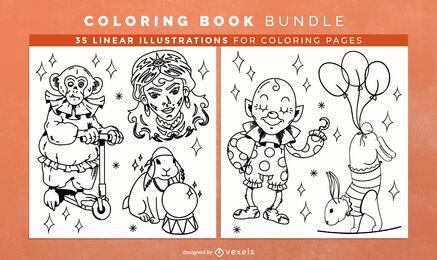 Artistas de circo para colorear páginas de diseño de libros