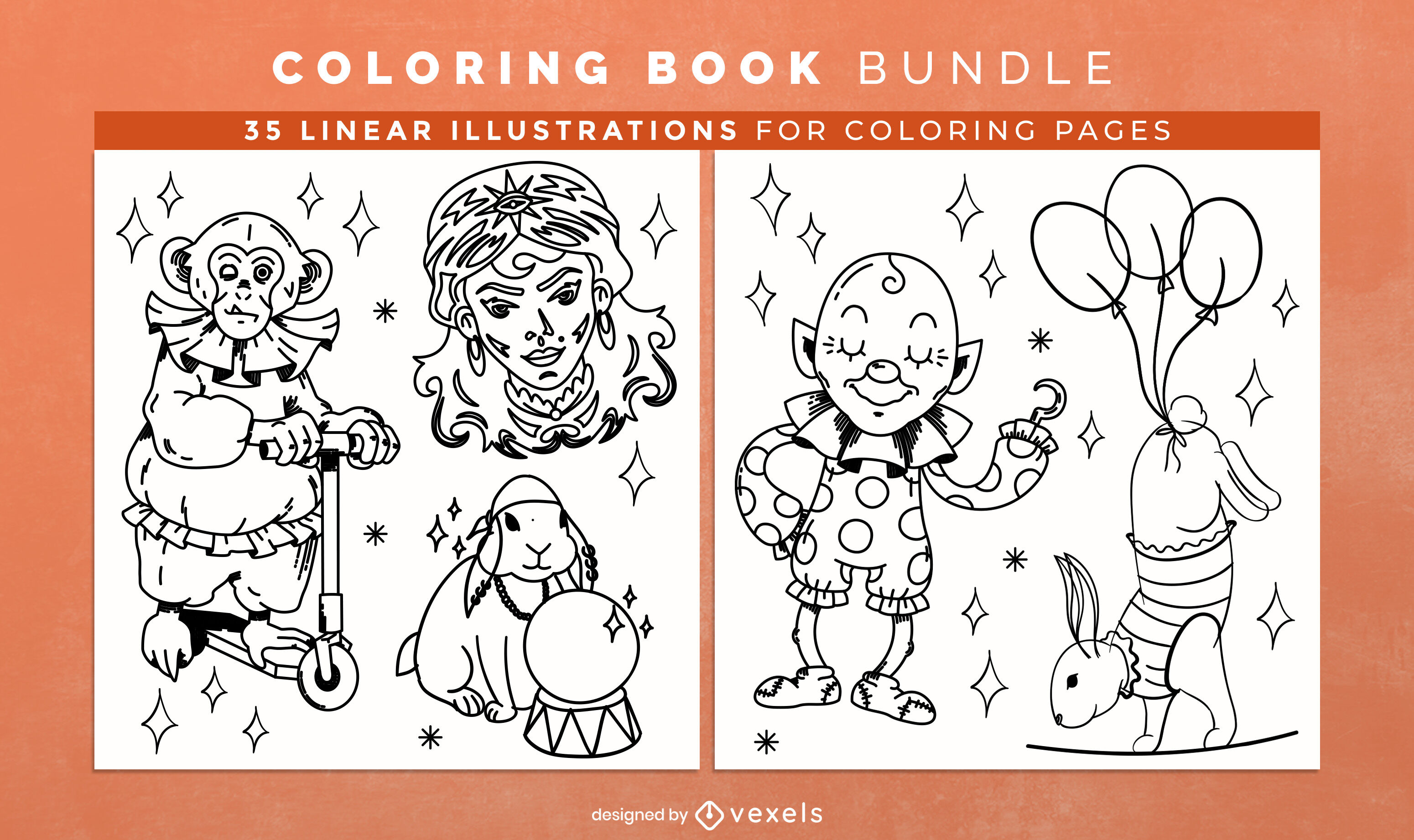 Circus performers coloring book design pages