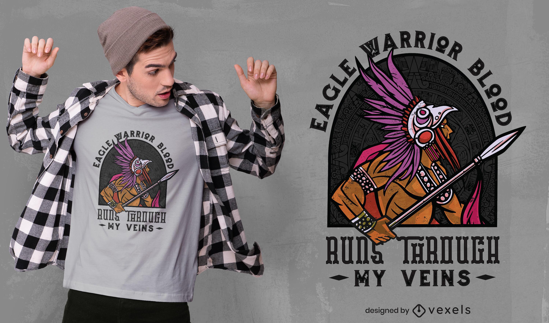 Dise?o de camiseta de guerrero azteca antiguo