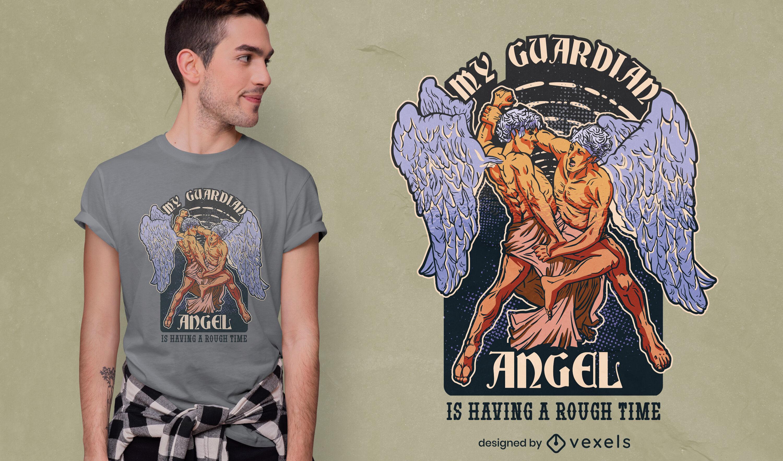 Guardian angel fight funny t-shirt design