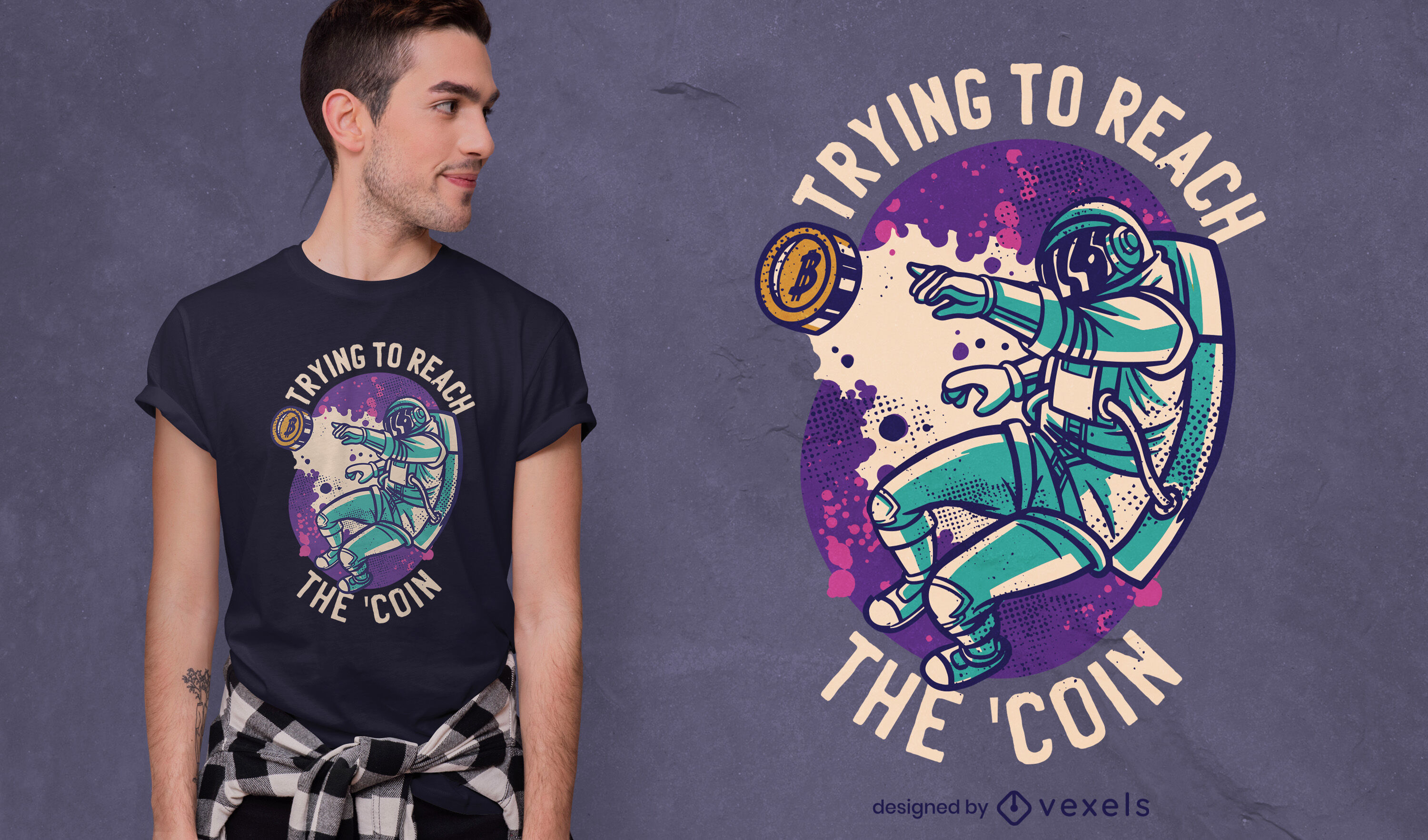 Space astronaut with bitcoin t-shirt design