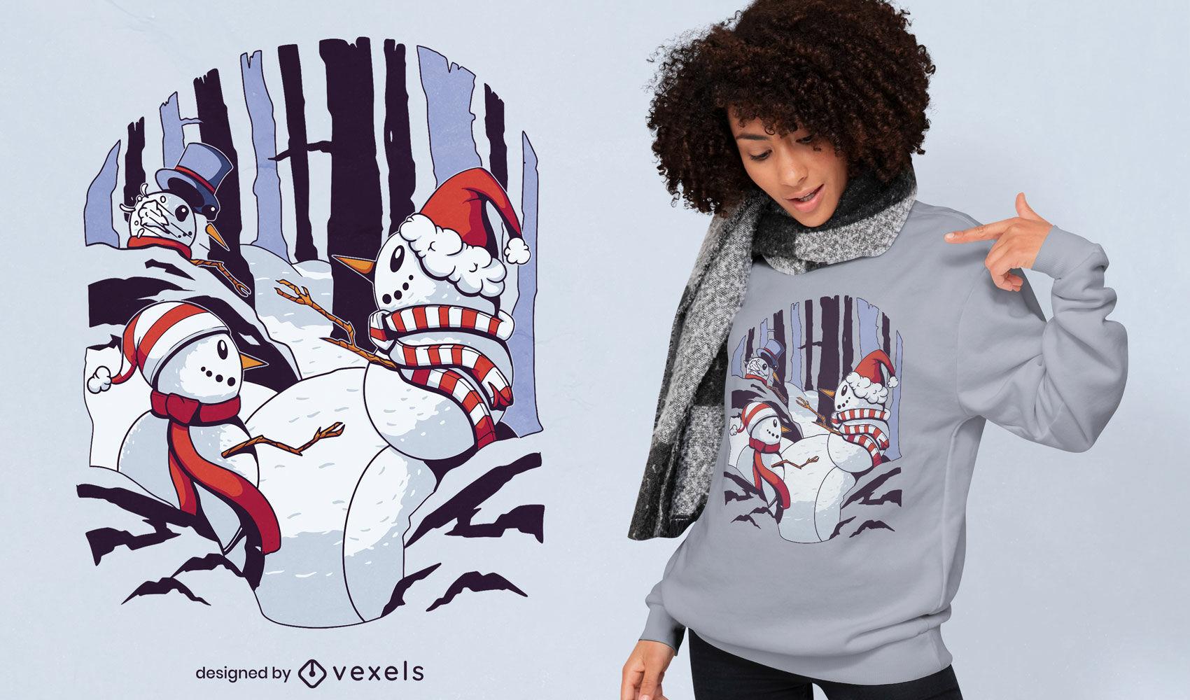 Design legal de camisetas de luta de bolas de neve