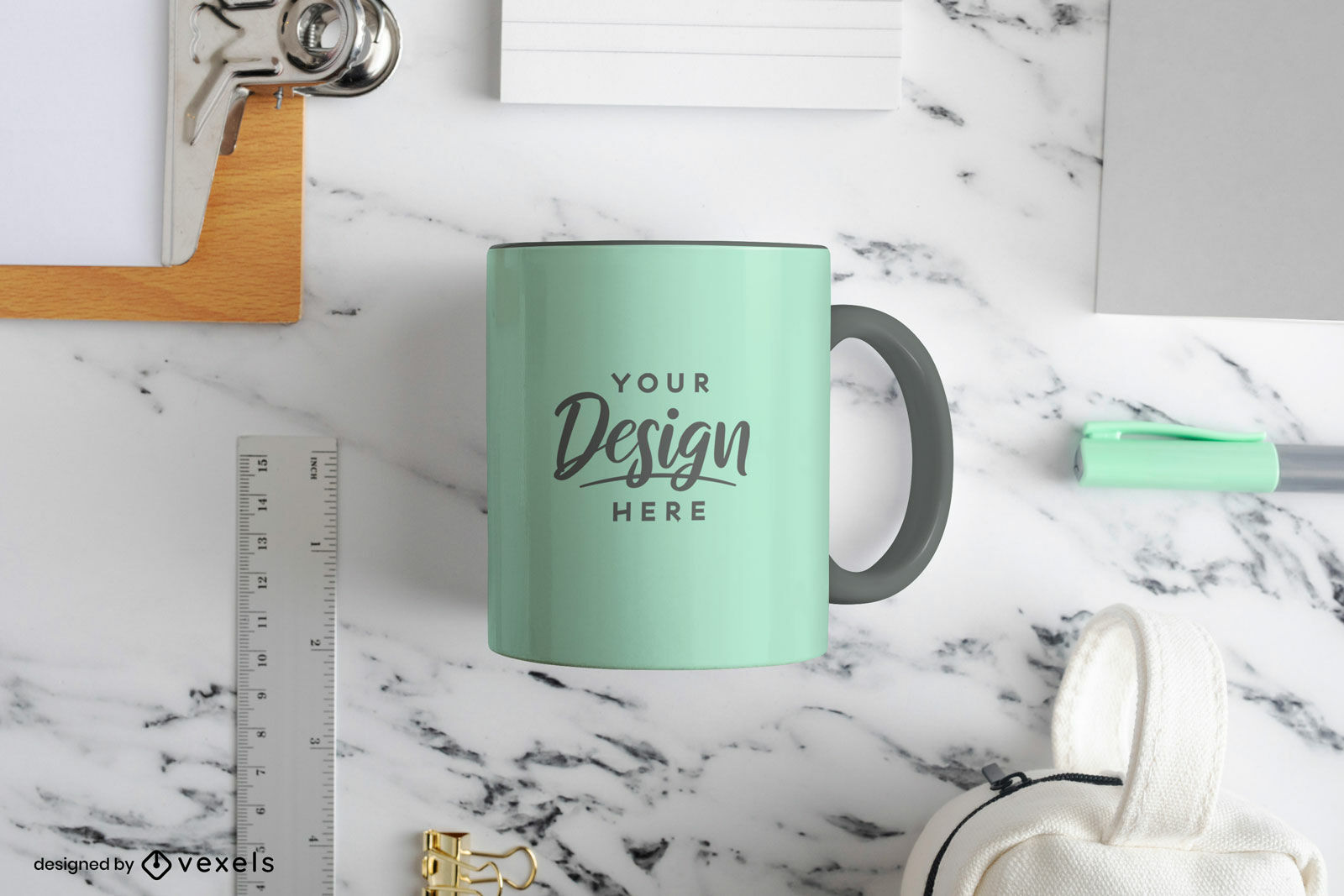 Light green mug mockup in marble table