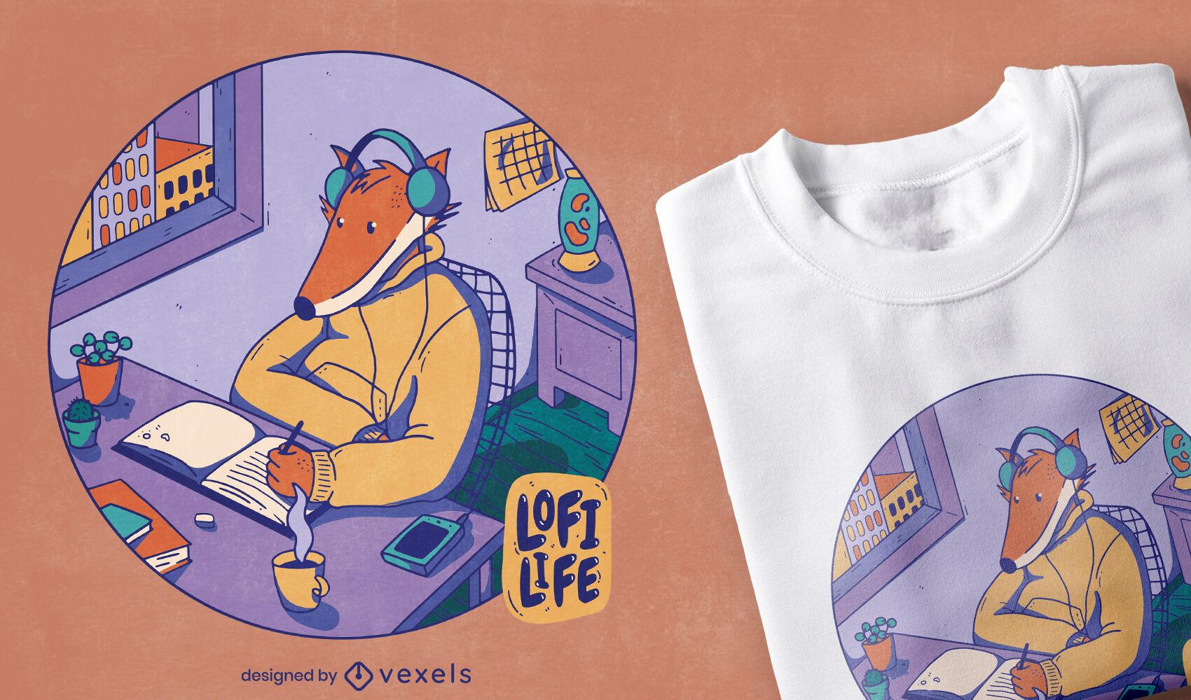 Dise?o de camiseta cool lofi fox