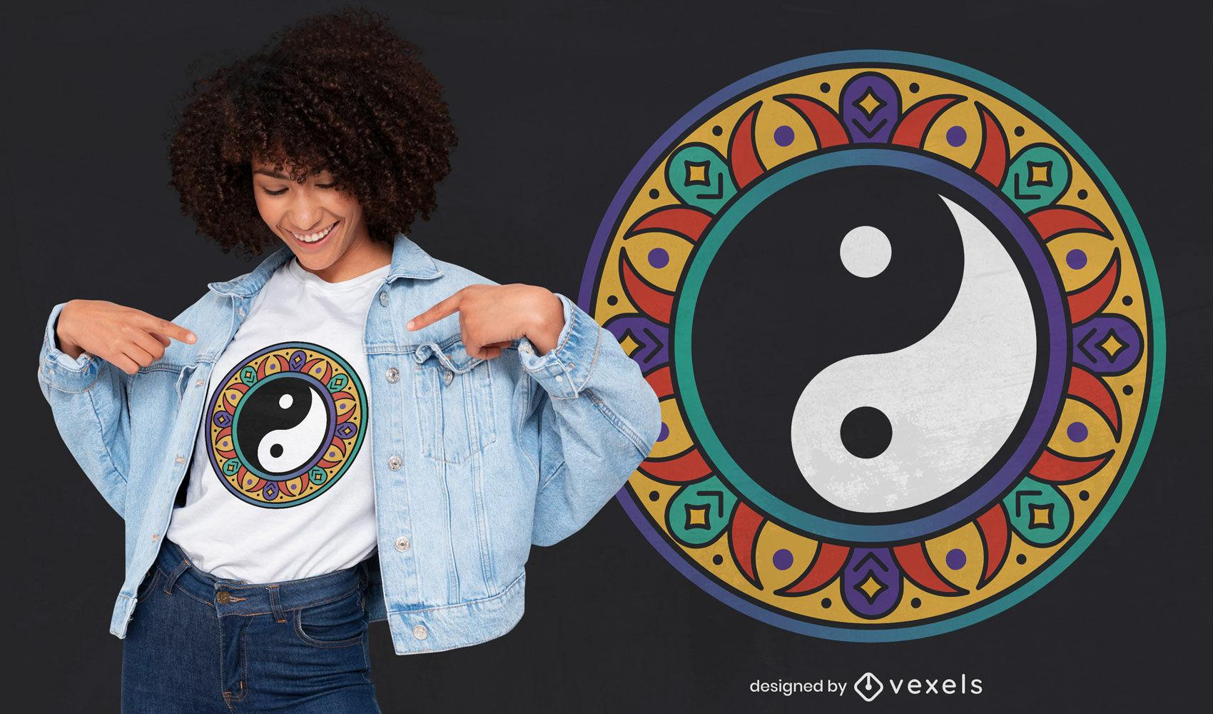 Lindo design de t-shirt de mandala ying yang