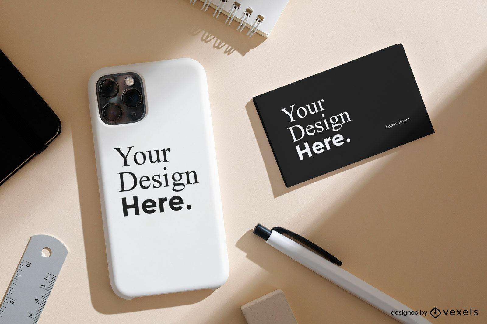 Capa do telefone e maquete da marca do cartão de visita