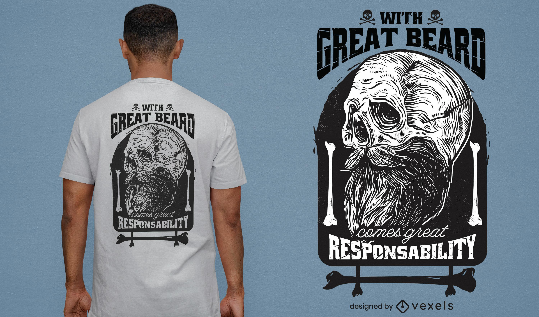 Dise?o divertido de la camiseta de la cita de la barba del cr?neo