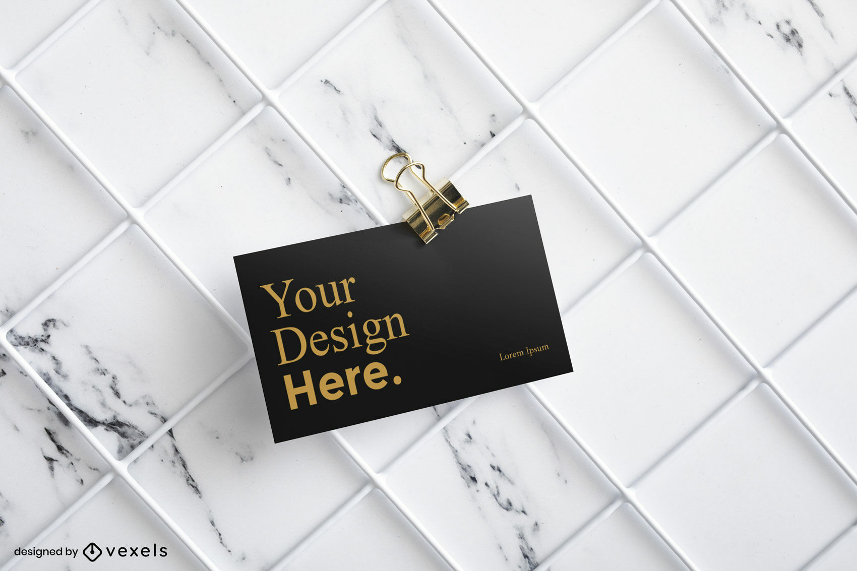 Black business card mockup with marble background
