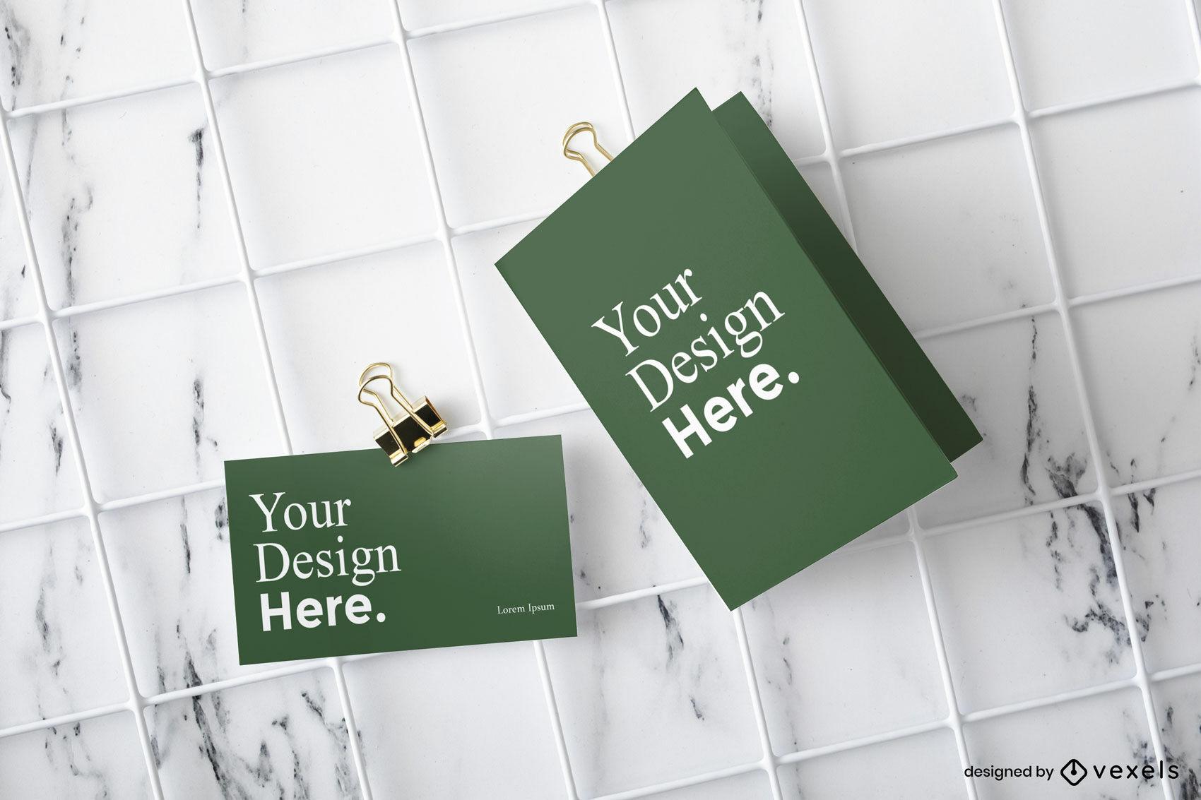 Maquete verde de negócios e cartões comemorativos