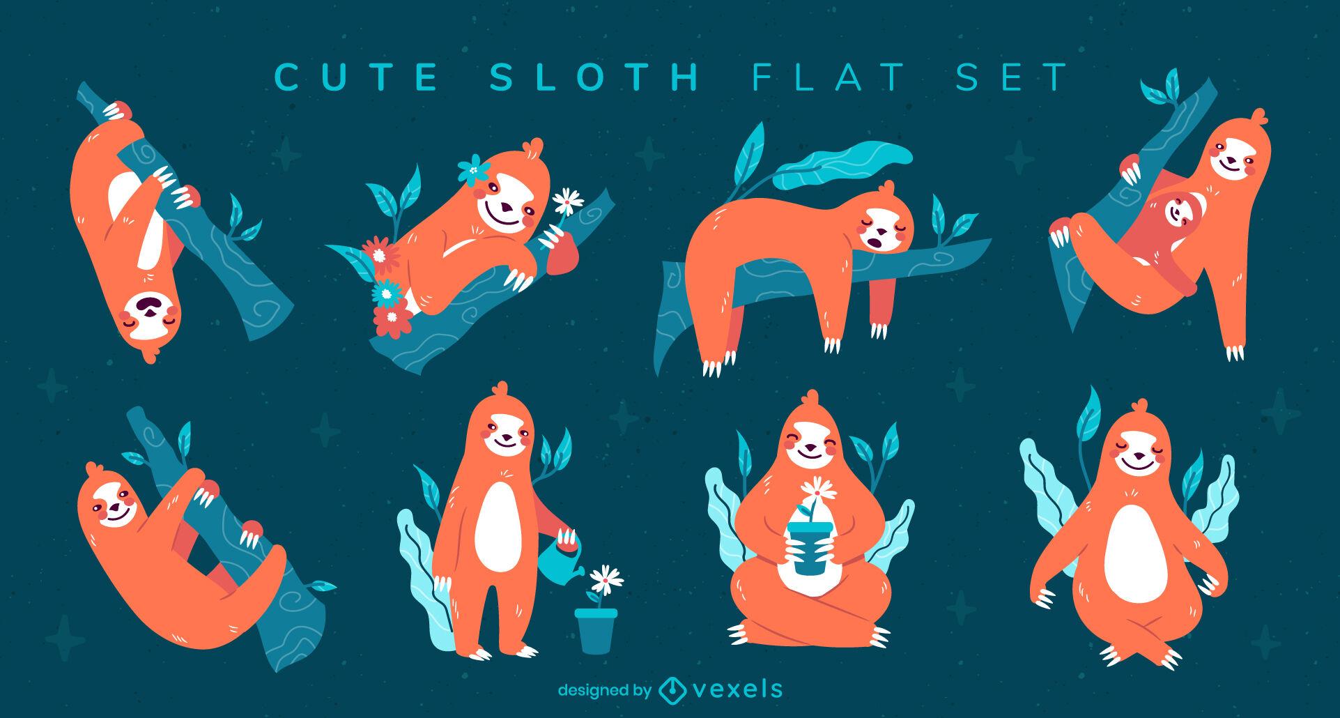 Cute sloth wild animal nature flat set