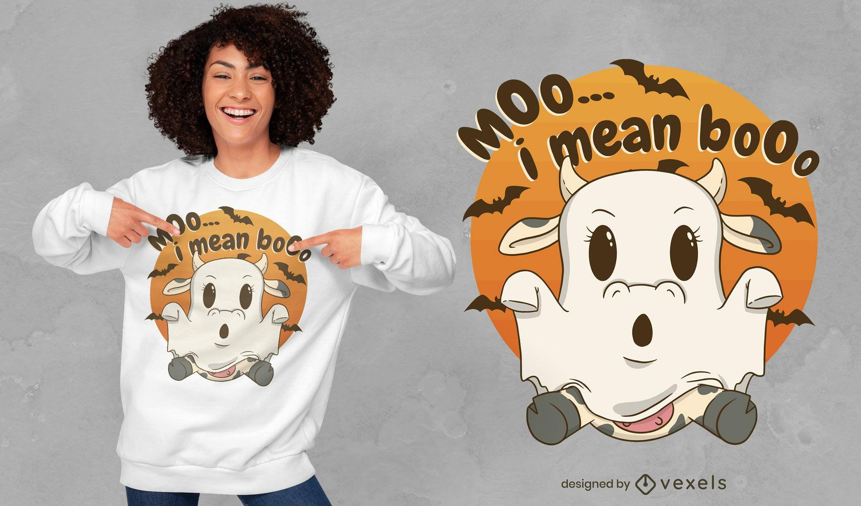 Dise?o lindo de la camiseta del fantasma de la vaca de Halloween